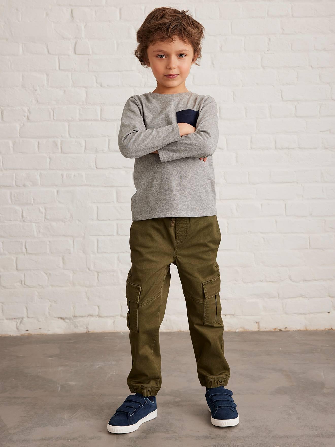 Pantalon battle facile à enfiler garçon kaki foncé