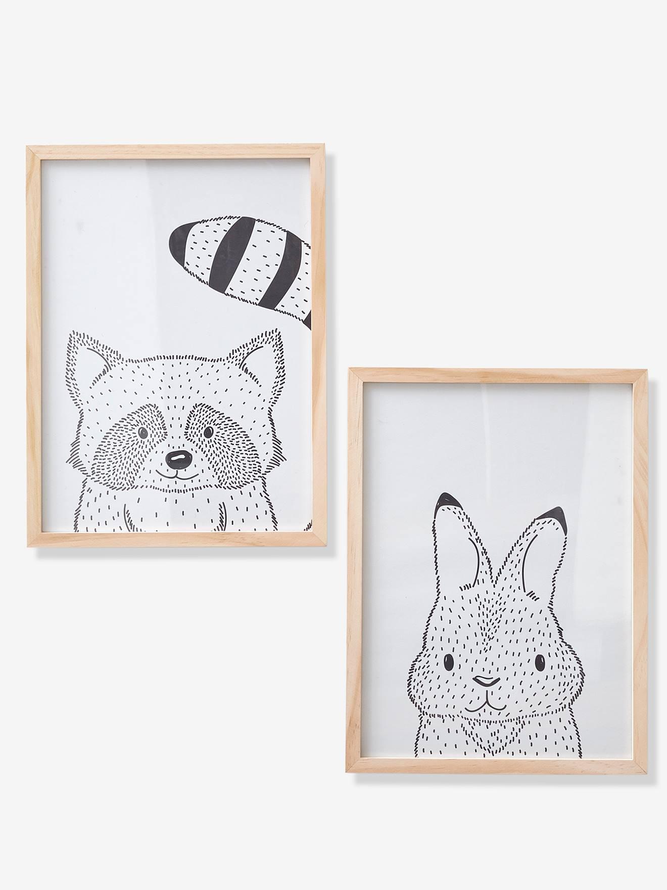 Lot de 2 cadres avec affiches animaux MINI COMPAGNIE beige