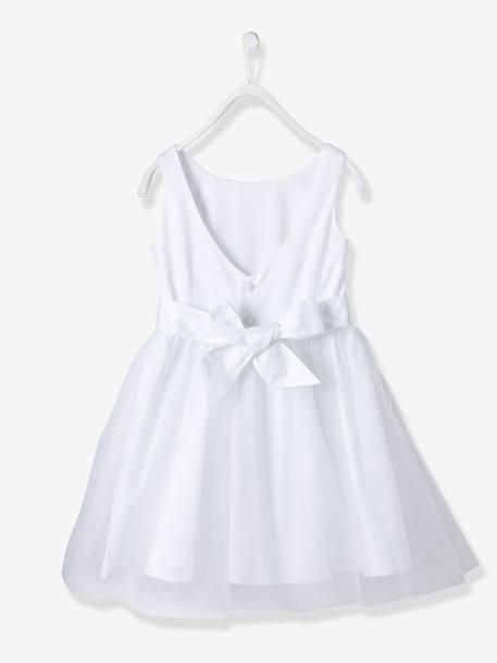 a8f9473bd33a8 Robe De Cérémonie Fille En Satin Et Tulle Blanc Vertbaudet