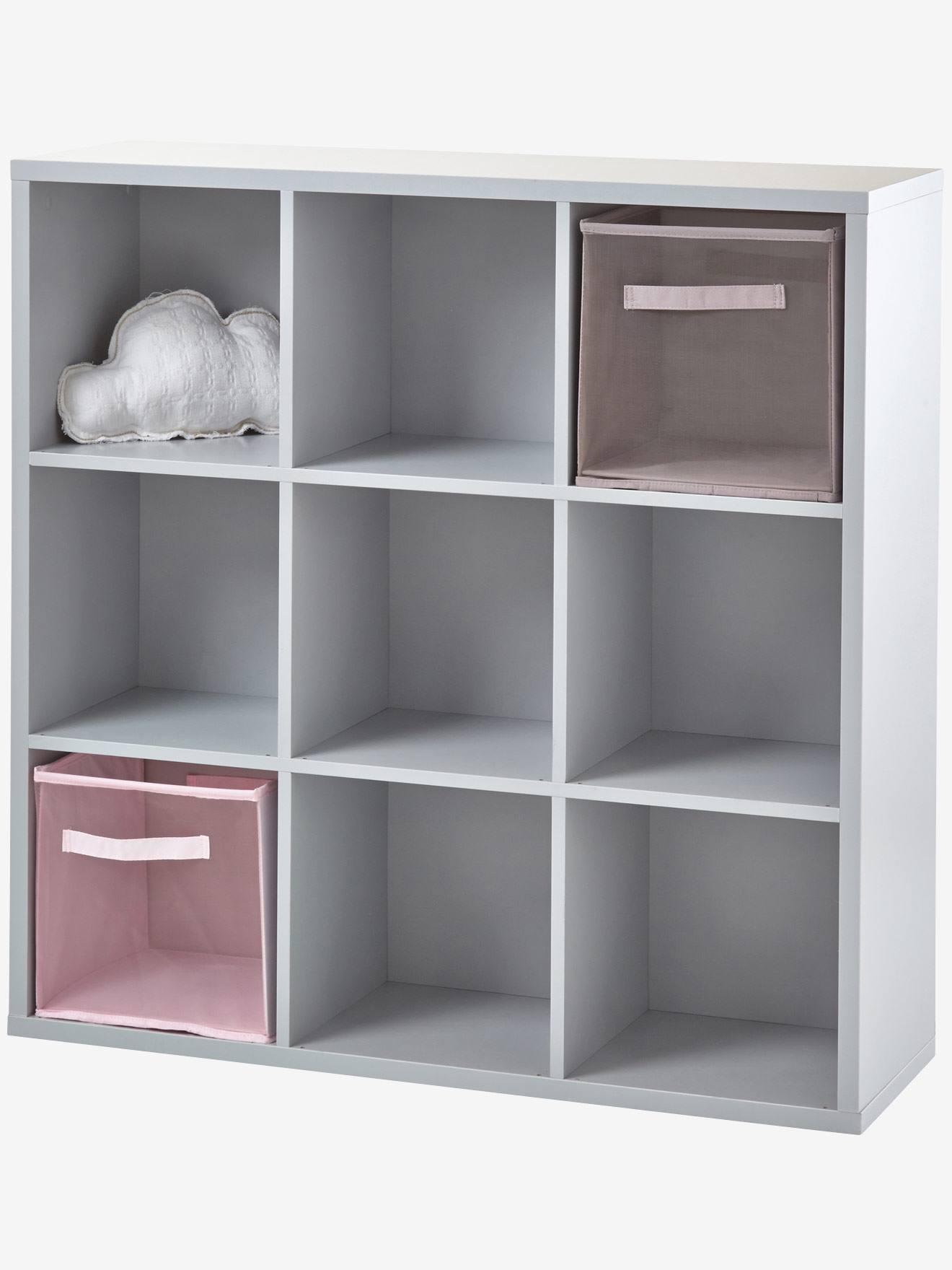 Meuble De Rangement 9 Cases Blanc+Gris 9   Vertbaudet Enfant