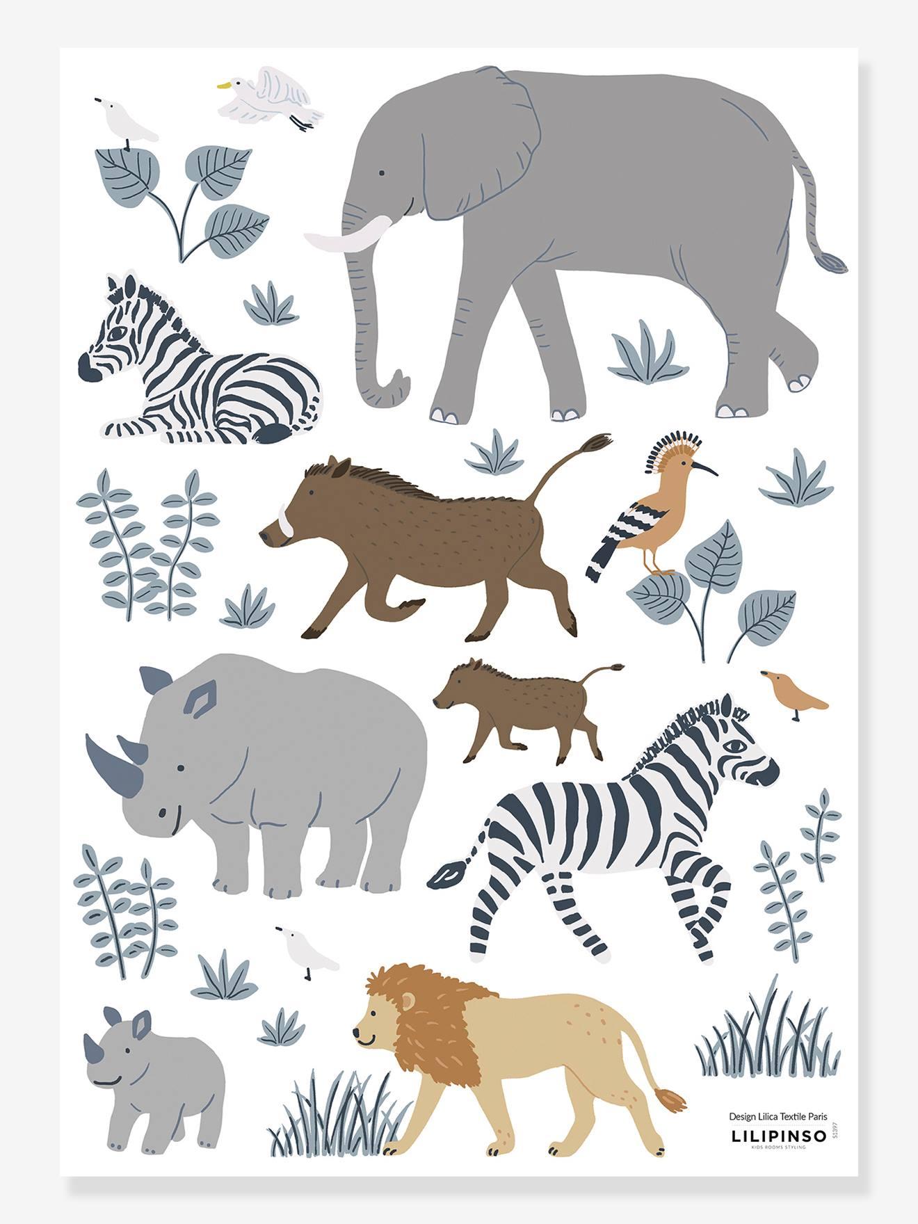 Planche de stickers LILIPINSO - Big five&Cie - animaux jungle multicolore