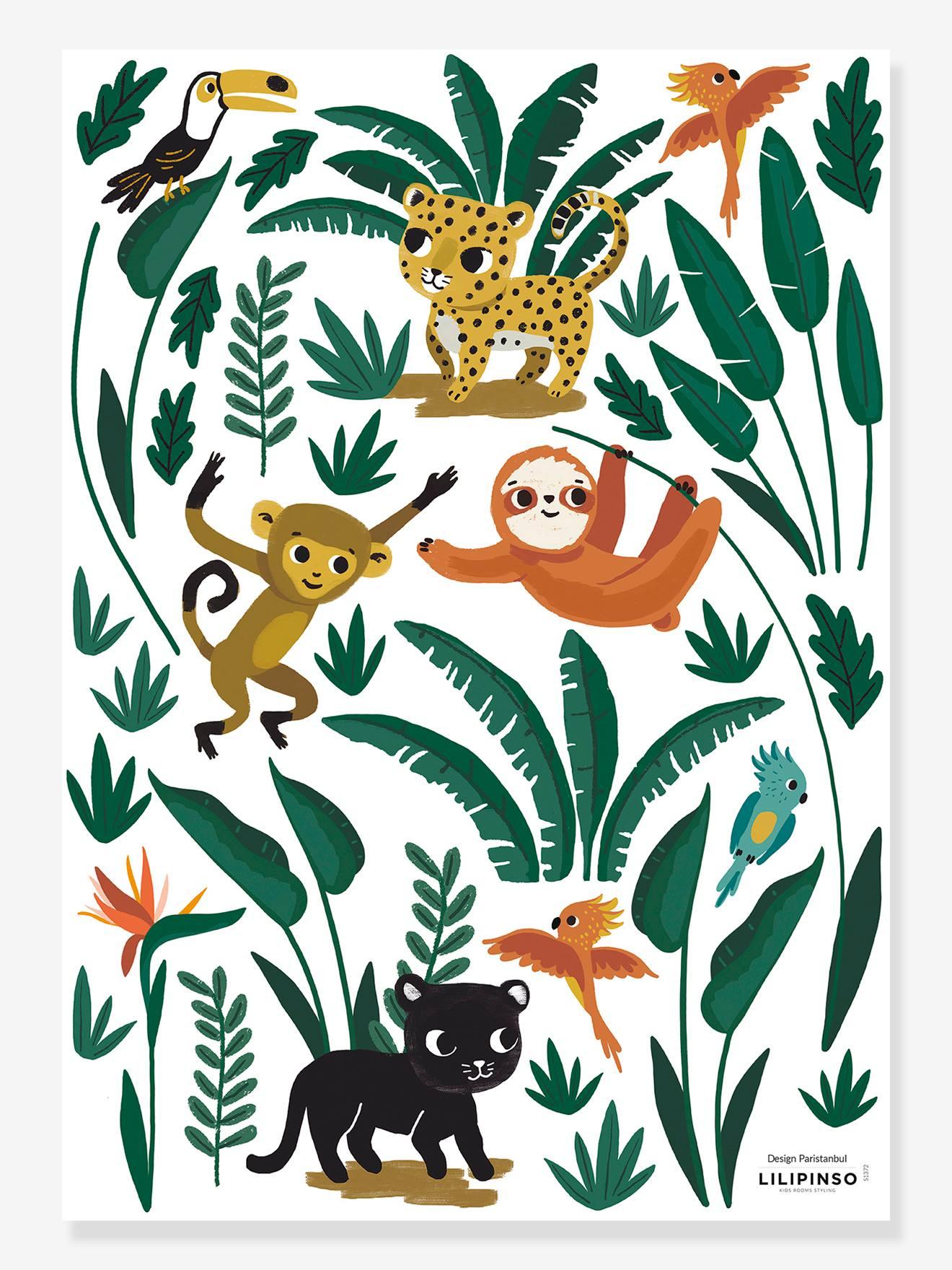 Planche de stickers LILIPINSO - Petits Animaux de la Jungle multicolore