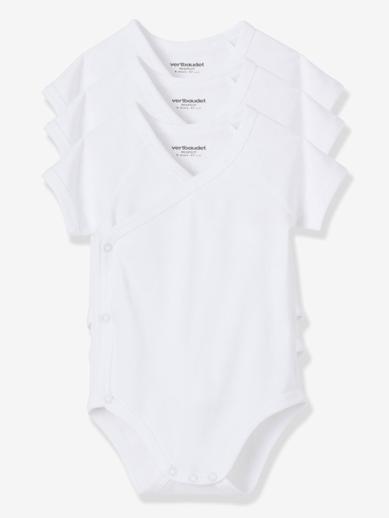 Lot de 3 bodies Bio Collection naissance manches courtes blanc blanc vertbaudet