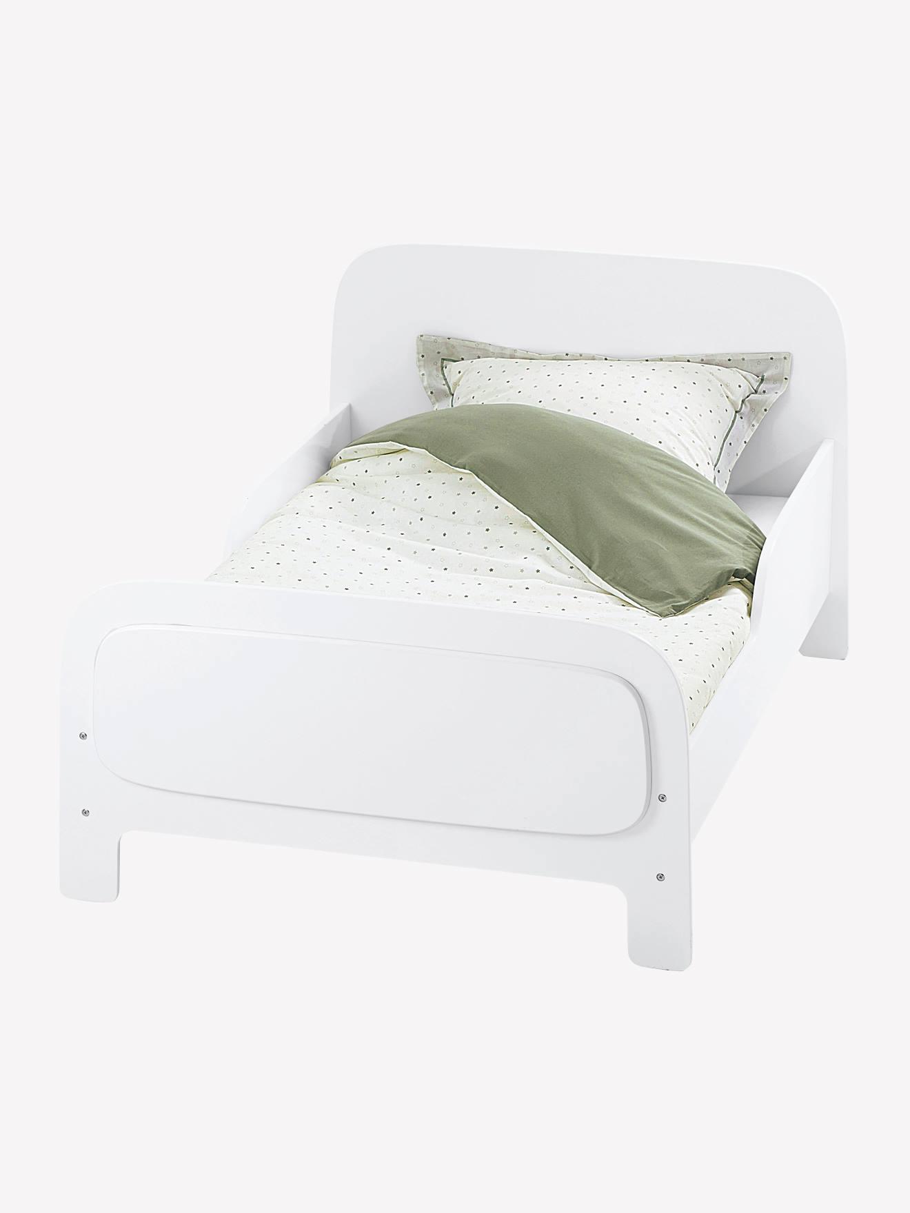 lit volutif enfant avec sommier ligne pastille blanc. Black Bedroom Furniture Sets. Home Design Ideas