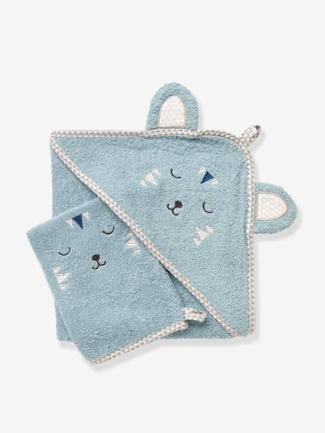 Cape de bain bébé à capuche brodée animaux Blanc+Bleu Gris+Rose+Vert 4a79b8c2529