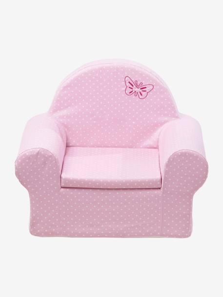 fauteuil en mousse personnalisable lutin rose pois blancs vertbaudet. Black Bedroom Furniture Sets. Home Design Ideas