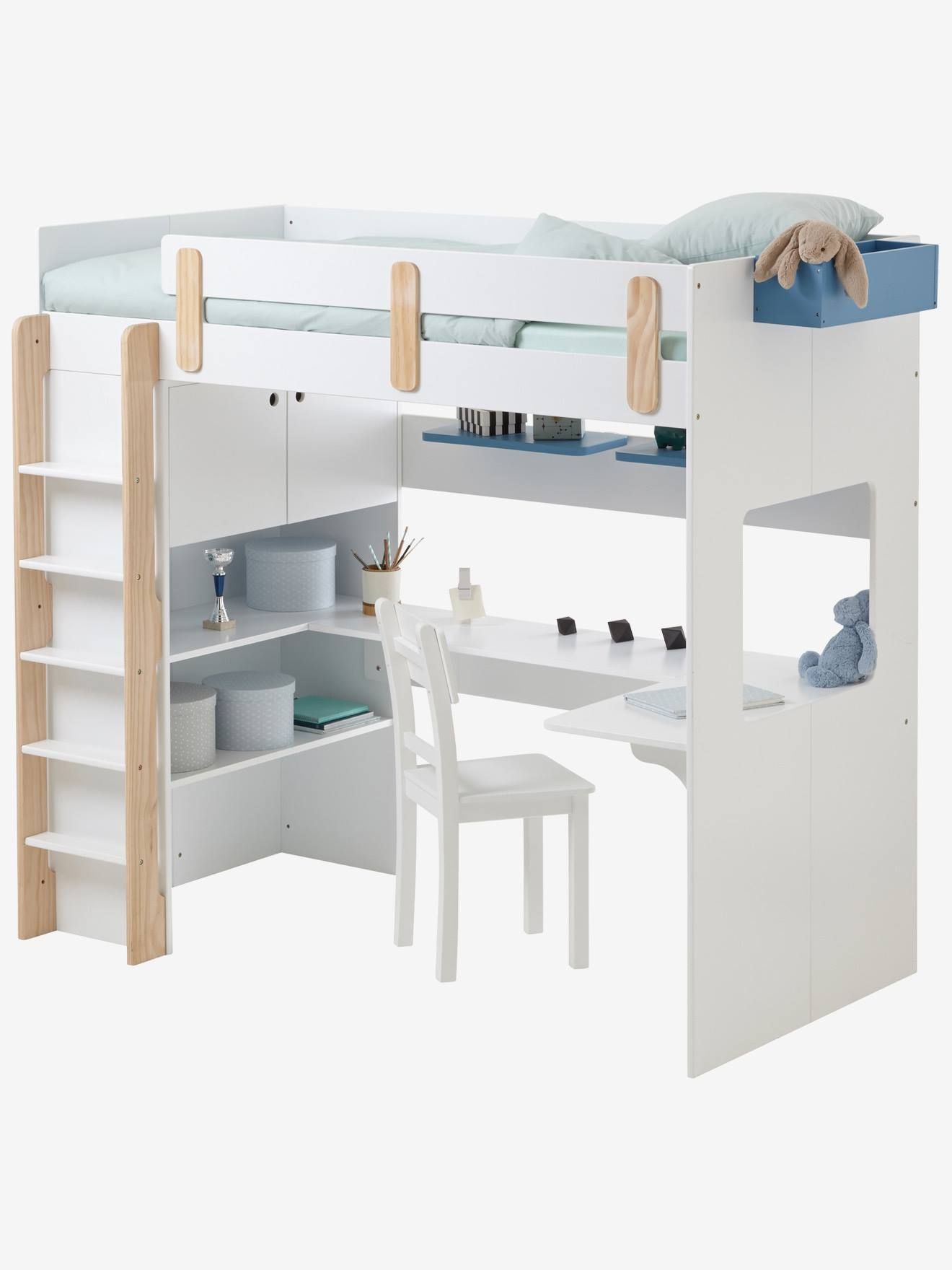 lit mezzanine combin everest xxl blanc bois vertbaudet. Black Bedroom Furniture Sets. Home Design Ideas