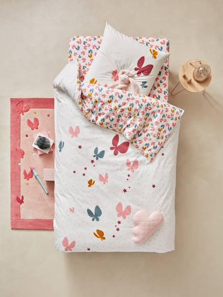 parure housse de couette taie d 39 oreiller enfant envolee rose imprim vertbaudet. Black Bedroom Furniture Sets. Home Design Ideas