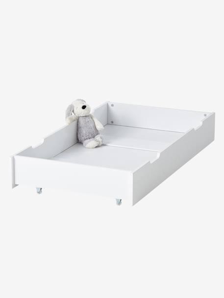 Tiroir de rangement roulettes pour lit b b blanc vertbaudet - Lit bebe a roulettes blanc ...