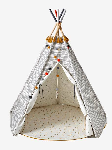 tapis de sol rond pour tipi blanc moutarde imprim. Black Bedroom Furniture Sets. Home Design Ideas