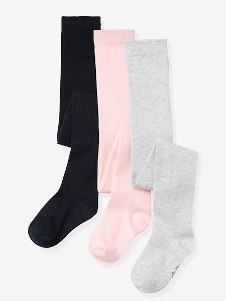 Lot de 3 collants en jersey fille Gris moyen chiné+Lot parme grisé+Lot rose pâle+Lot rouge+Lot vert 3 - vertbaudet enfant