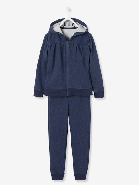 Ensemble sport fille sweat zippé + pantalon Gris+Marine 6 - vertbaudet enfant
