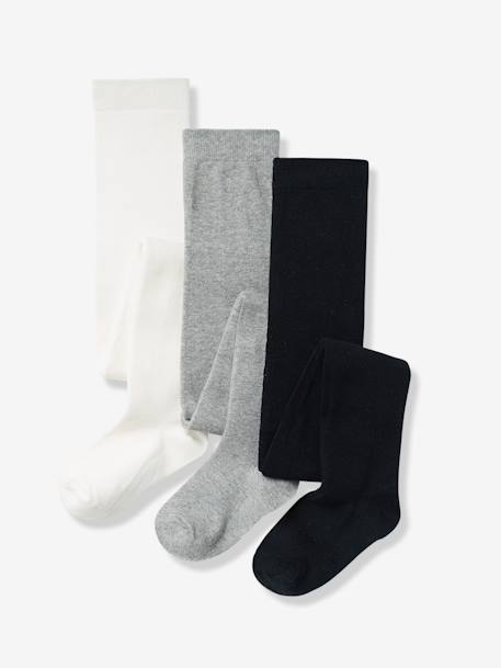 Lot de 3 collants en jersey fille Gris moyen chiné+Lot parme grisé+Lot rose pâle+Lot rouge+Lot vert 1 - vertbaudet enfant