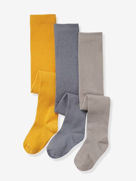 Lot de 3 collants en jersey fille Gris moyen chiné+Lot jaune moutarde+Lot parme grisé+Lot rose pâle+Lot rouge+Lot vert 2 - vertbaudet enfant