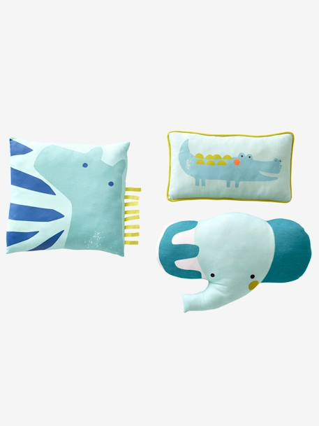 Lot de 3 coussins animaux Safari Multicolore 1 - vertbaudet enfant