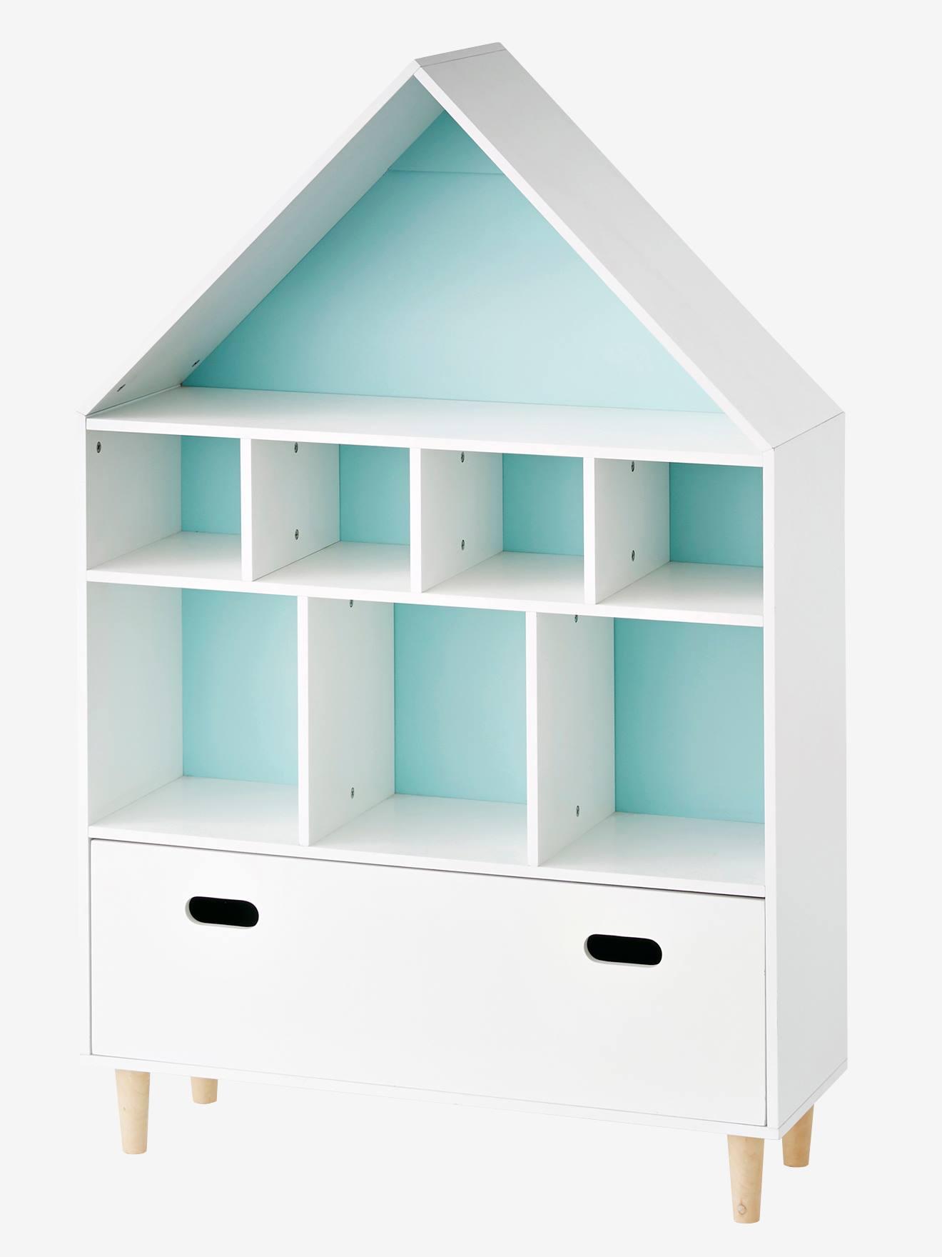 Bibliotheque bois maison de poupées Blanc Rangement Livres Jouets Enfants