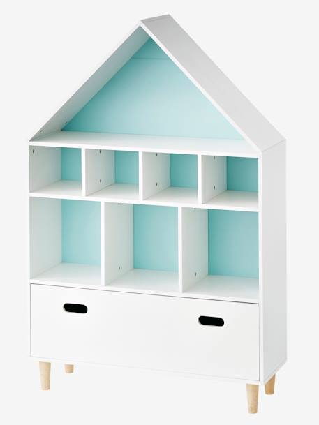 meuble de rangement 9 cases maison blanc bleu vertbaudet. Black Bedroom Furniture Sets. Home Design Ideas