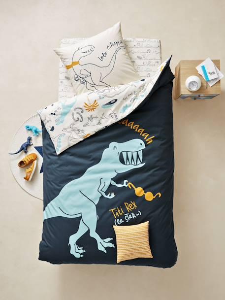 parure r versible housse de couette taie d 39 oreiller enfant dinorama bleu encre imprim. Black Bedroom Furniture Sets. Home Design Ideas
