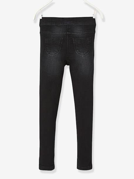 Tregging fille en denim ultra-stretch tour de hanches FIN Denim noir+Double stone 3 - vertbaudet enfant