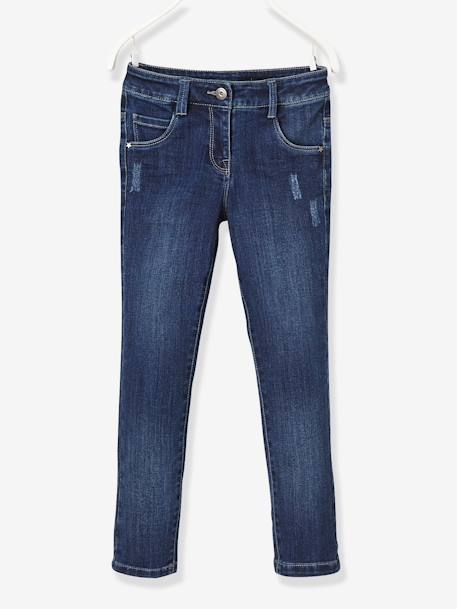 Jean droit fille tour de hanches LARGE Denim bleached+Stone 6 - vertbaudet enfant