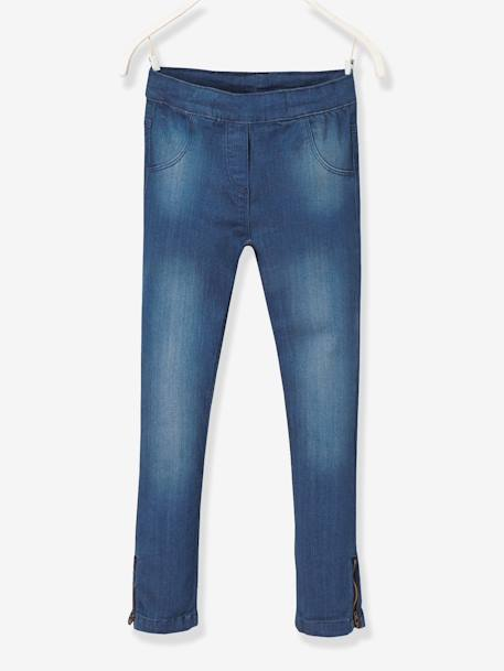 Tregging fille en denim ultra-stretch tour de hanches MEDIUM Double stone 1 - vertbaudet enfant