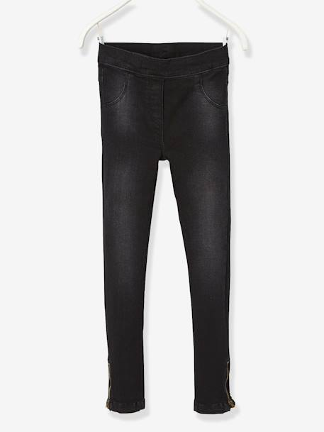 Tregging fille en denim ultra-stretch tour de hanches MEDIUM Denim noir+Double stone 1 - vertbaudet enfant