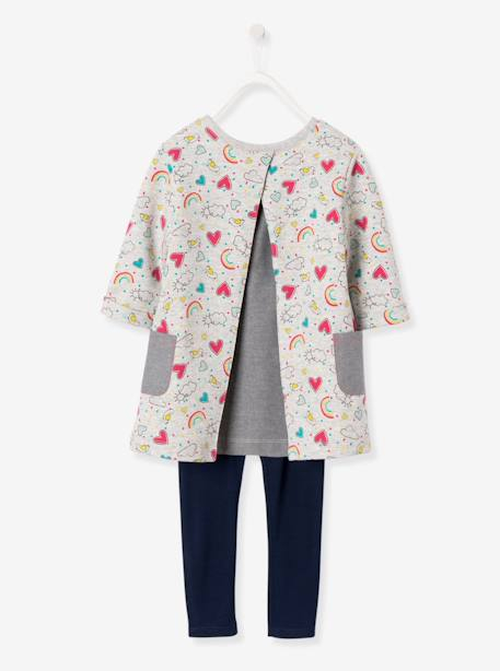 Ensemble fille robe + legging Carreaux noir+Gris chiné imprimé+Rose 7 - vertbaudet enfant