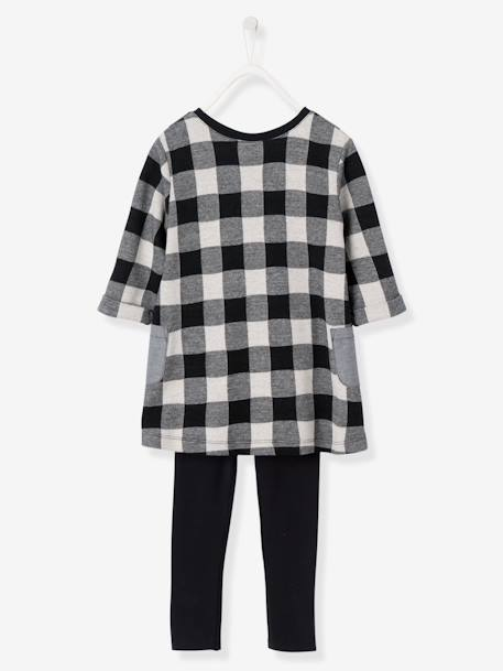 Ensemble fille robe + legging Carreaux noir+Gris chiné imprimé+Rose 2 - vertbaudet enfant