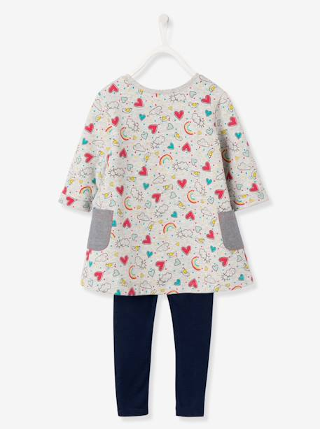 Ensemble fille robe + legging Carreaux noir+Gris chiné imprimé+Rose 6 - vertbaudet enfant