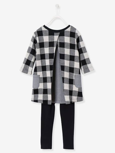 Ensemble fille robe + legging Carreaux noir+Gris chiné imprimé+Rose 3 - vertbaudet enfant