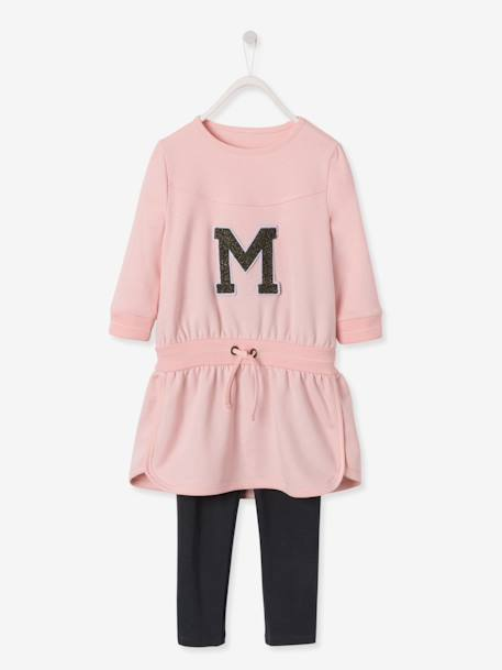 Ensemble sport fille robe molleton + legging Rose pâle 2 - vertbaudet enfant