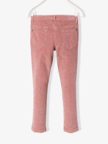 Pantalon slim fille en velours tour de hanches FIN Bordeaux+Rose 8 - vertbaudet enfant