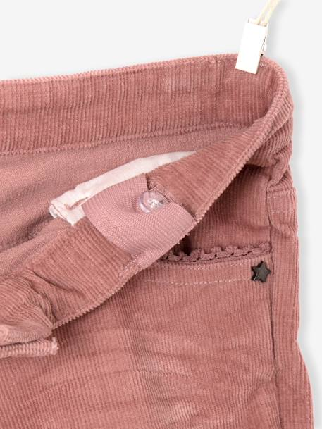 Pantalon slim fille en velours tour de hanches FIN Bordeaux+Rose 10 - vertbaudet enfant
