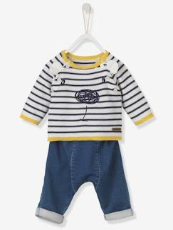 outlet-Bébé-Ensemble bébé pull brodé + pantalon denim