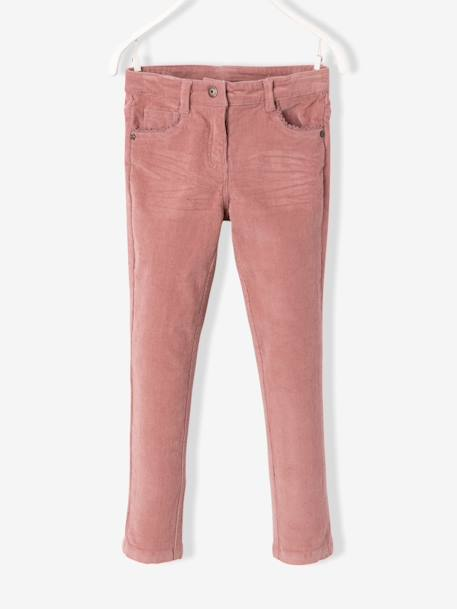 Pantalon slim fille en velours tour de hanches FIN Bordeaux+Rose 7 - vertbaudet enfant
