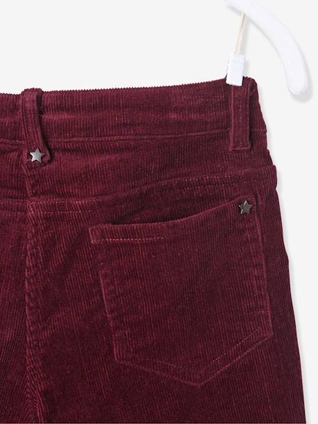 Pantalon slim fille en velours tour de hanches FIN Bordeaux+Rose 5 - vertbaudet enfant