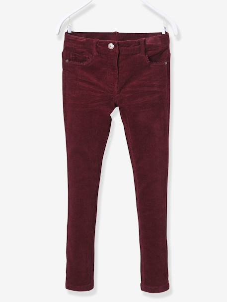 Pantalon slim fille en velours tour de hanches FIN Bordeaux+Rose 1 - vertbaudet enfant