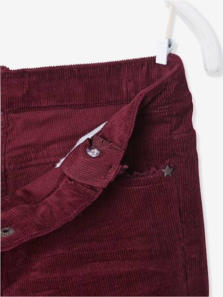 Pantalon slim fille en velours tour de hanches FIN Bordeaux+Rose 4 - vertbaudet enfant