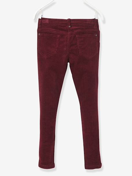 Pantalon slim fille en velours tour de hanches FIN Bordeaux+Rose 3 - vertbaudet enfant