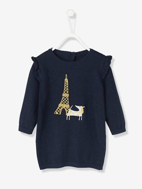 b5571b4a8e83 Robe bébé en tricot brodé chien Bleu foncé 1 - vertbaudet enfant