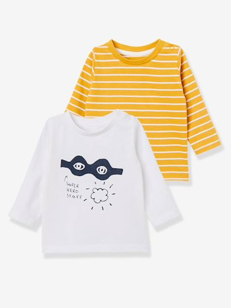 Lot de 2 T-shirts bébé garçon manches longues LOT CARAMEL+Lot jaune moutarde+LOT MARINE GRISE+Lot Rouge 10 - vertbaudet enfant