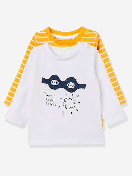 Lot de 2 T-shirts bébé garçon manches longues LOT CARAMEL+Lot jaune moutarde+LOT MARINE GRISE+Lot Rouge 7 - vertbaudet enfant