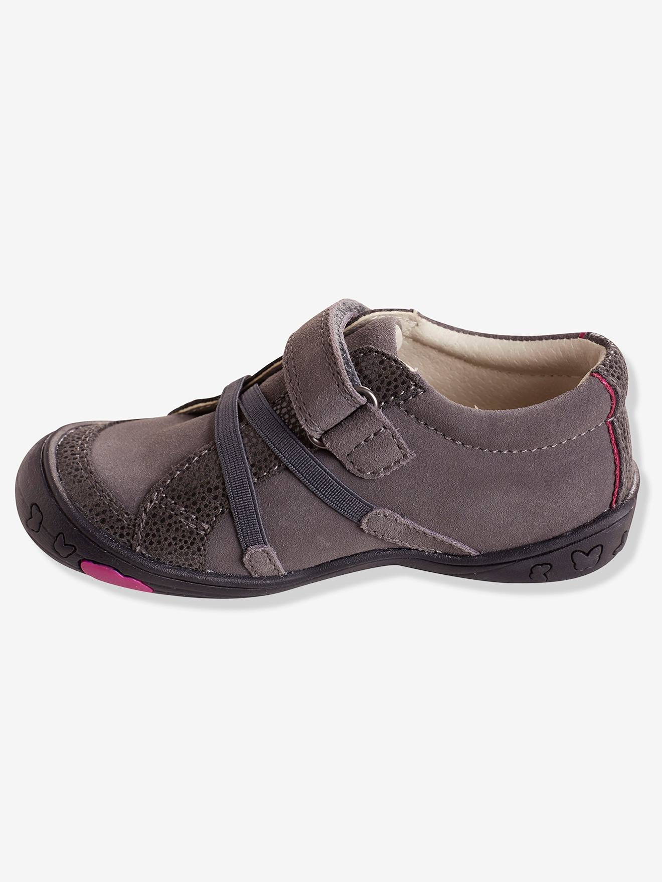 Maternelle Chaussures Collection Gris Vertbaudet Cuir Basses Fille QrdWCoxBe