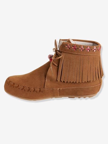 Bottines cuir fille broderies et franges CAMEL+Marron+NOIR 8 - vertbaudet enfant
