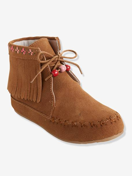 Bottines cuir fille broderies et franges CAMEL+Marron+NOIR 6 - vertbaudet enfant