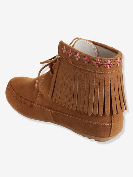 Bottines cuir fille broderies et franges CAMEL+Marron+NOIR 9 - vertbaudet enfant