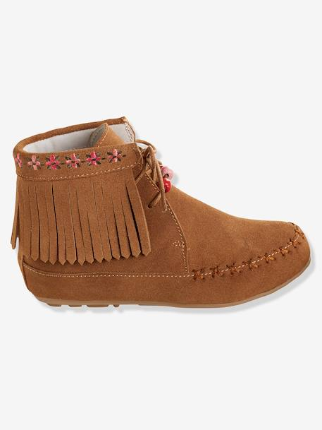 Bottines cuir fille broderies et franges CAMEL+Marron+NOIR 7 - vertbaudet enfant