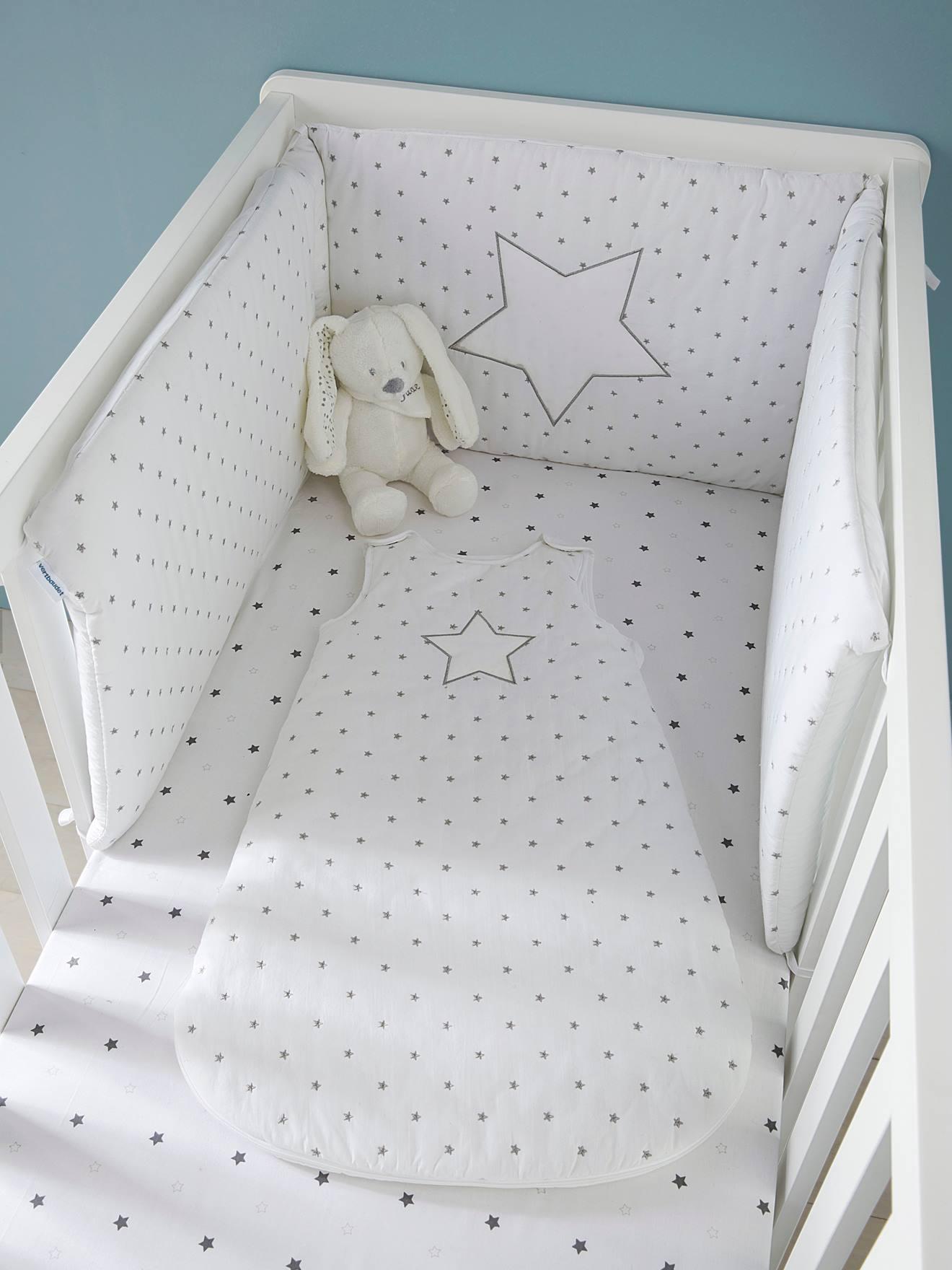 Drap-housse bébé PLUIE D'ETOILES blanc /