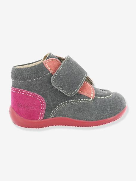 Bottines bébé fille Bono KICKERS® à patte scratch Gris 1 - vertbaudet enfant