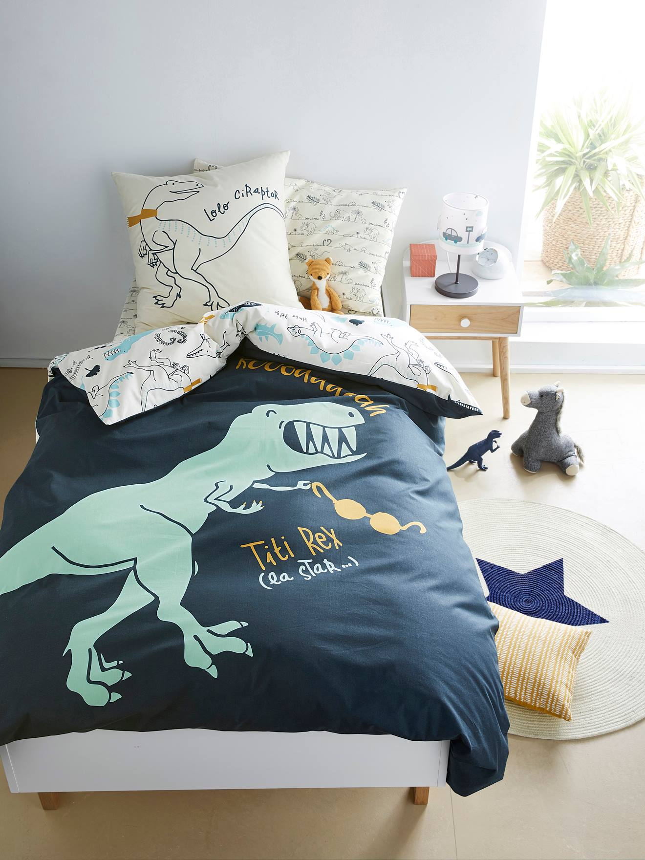 Dinosaures Garçons Bleu Enfants Réversible Couette Couverture Ensemble De Literie